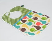 Baby Bib - Boutique quality, Cotton and Chenille, Apples and Pears, green dots, Baby Shower Gift - Gender neutral
