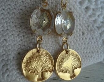 Vintage 1940s Crystal Faceted Glass 24K Matte Gold Vermeil Tree Earrings