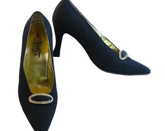 Vintage 70s Evening Shoes // Black Satin Regency 3 1/2 Inch Louis Heel // Rhinestone and Gold Embellishment // Paloma  Italy // Size 7 1/2