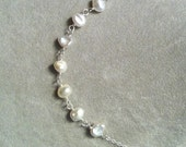 Keshi type Freshwater Pearl links and chain necklace -- sterling silver