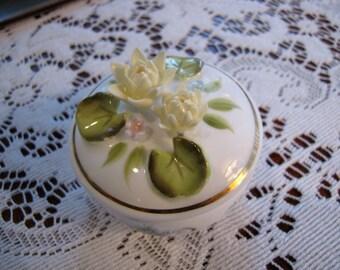Vintage Enesco Floral Bone China Trinket Box  Water Lily Flower Feburary  What Not Box