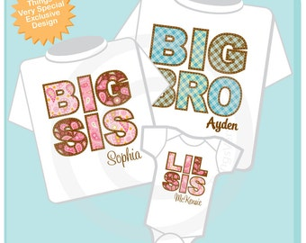 Set of Three Big Brother Shirt, Big Sister Shirt, Little Sister Shirt Set Personalized Shirt or Onesie Pregnancy Announcement  (10262011a)