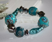 Chunky Beaded Stretch Bracelet Royal Blue Silver Bohemian Boho Chic Glass Crystals Metal For Her