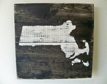 Love Massachusetts Wooden Wall Art Hanging