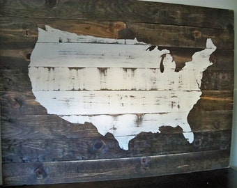 "USA Map Wood Wall hanging on Dark Walnut OR Ebony Stain 38"" x 28""(Customizable with heart placed on your town)"