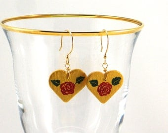 Heart Earrings, Painted Earrings, Gold with Red Rose