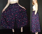 Vintage Floral Wide Legs PANTS SKIRT, Liz Sport, 1080s
