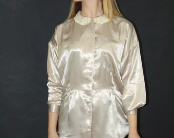 Vintage Cream BLOUSE, Oleg Cassini, 1980s