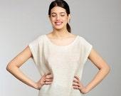 Women summer oversize tunic, long knitted tunic, cream color women summer knitted shirt one size fits all