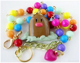 Diglett Pokemon Necklace, Beaded Rainbow Chain in Gold - Kandi Kid, Kawaii