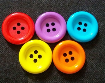 20 pcs - Big buttons - 4 hole - size 33 mm  Red purple light blue orange yellow