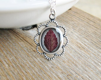 Leaf Necklace Real Pressed Spirea Leaf Botanical Resin Jewelry Silver Chain Minimalist Naturalist Nature Gift Red Leaf Real Plant