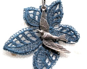 Blue leaf necklace - bird pendant - vintage lace necklace - swallow swift charm - Prussian blue ink