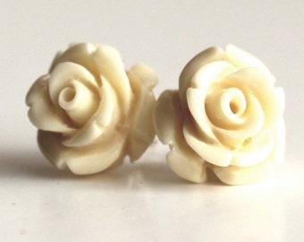 Rose stud earrings cream ivory pretty vintage style bride bridesmaid spring summer
