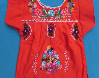 Mexican Blue Dress Girl 2 Years Embroidered Handmade Collection Spring / Summer