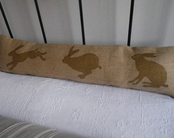 hand printed reversible natural triptyque hare bolster/excluder
