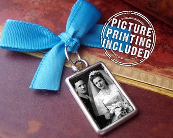 Double Sided Photo Charm Memorial - Silver Rectangle - Includes Two Picture Printing Services