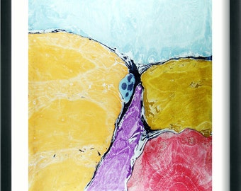 "Marbled  painting  Marbled paper.italian  abstract marbling  19.5"" x 27,3"" cm 50 x 70  -  SIGNED   706"