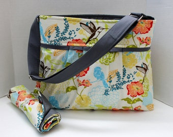 The Monterey Diaper Bag Medium Set - In Floral Birds - with Adjustable Strap and Elastic Pockets