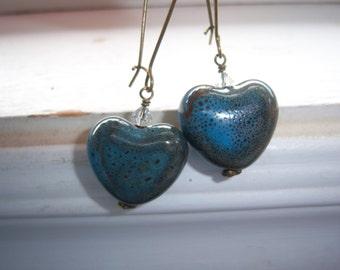 Stone Earrings - Earthy Earrings -Heart Earrings - Blue Earrings