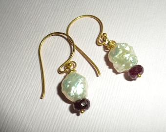 Earrings Rosebud Pearls Rubies