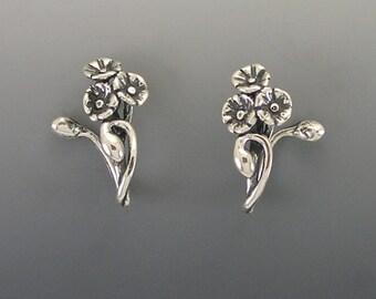 Poppy Hooped Sterling Silver Earrings
