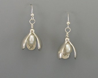 Snowdrop Sterling Silver Earrings, White Freshwater Pearls