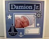 Baby Boy Nautical Sailing Themed Photo Mat - Birth Announcement  - Blue and White Sail Boat - Personalized 12x12 Unframed Insert