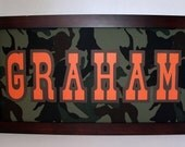 Camouflage Name Sign - Boys Wall Art - Army, Hunting Camo, Military Decor - Personalized - Deluxe 11x14, 8x20 or 10x20 Frame Included