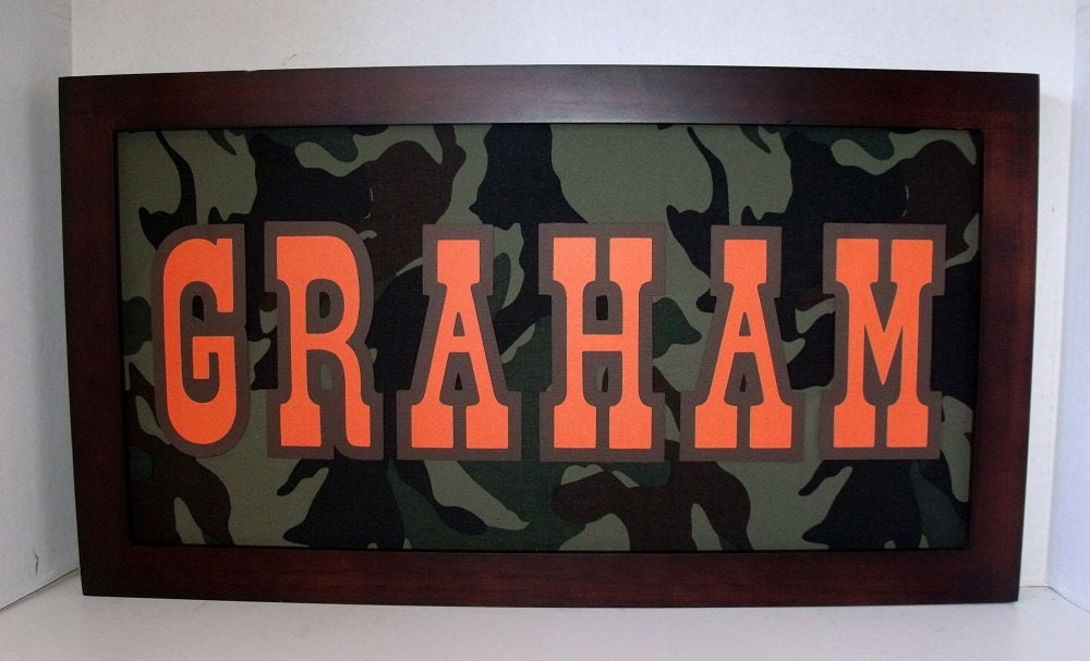 Camouflage Name Sign Boys Wall Art Army By Memoreasykeepsakes