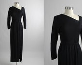 Vintage 1970's Real HALSTON Black Silk Jersey Asymmetrical Evening Gown, Dress, 70's