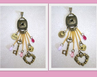 Key to My Heart - Bronze Brass Heart LOVE Key Rose Fuchsia Alabaster Swarovski Crystals Waterfall Pendant