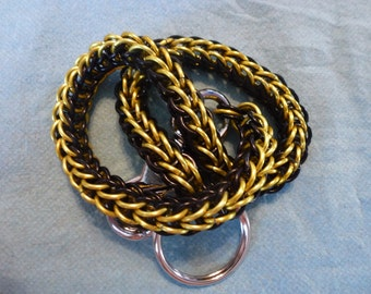 Black and Yellow Biker Chainmaille Wallet Chain full persian style