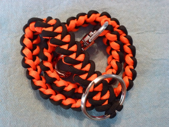 Items similar to black orange paracord biker wallet for How to make a paracord wallet chain