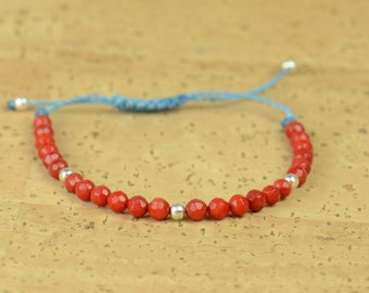 SALE-Sterling silver and coral beads bracelet