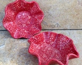 2 Small Cranberry Red Bowls