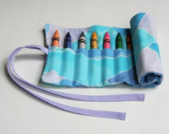 Crayon Roll, Children's Art Supplies, Arts and Crafts, Summer Pastels, Handmade by Knotted Nest