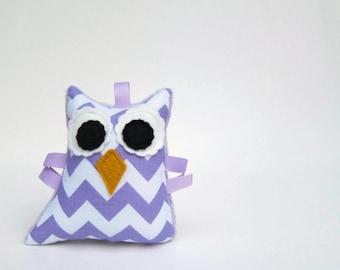 Owl Rattle Chevron Plush Small Stuffed Owl Softie Minky Lavender Purple