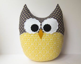 Large Owl Pillow Plush Owl Yellow Ikat Gray White Nursery Decor