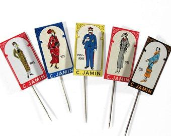 """Set of 5 Advertising Stick Pins """"C. Jamin"""""""