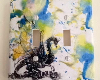 Dragon Decorative Double Light Switch Plate Cover