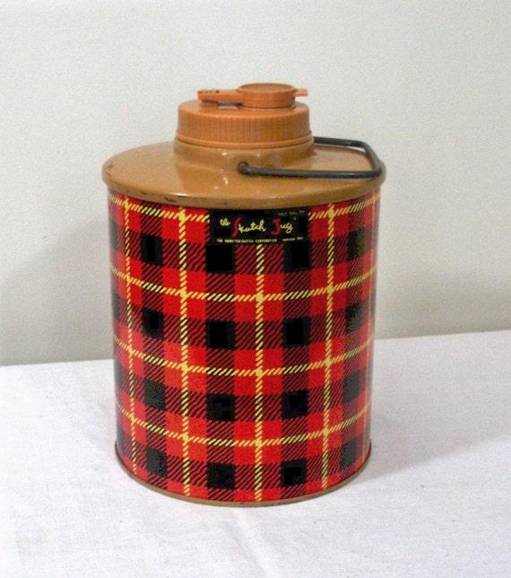 Vintage Skotch Jug Picnic Thermos - Red Plaid