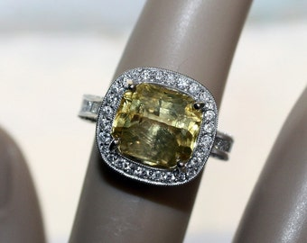 Halo, Sapphire Engagement  Ring, Yellow Sapphire Ring, Canary Yellow Sapphire, Diamond Engagement Ring/Appraisal Included