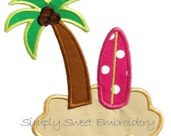 Palm Tree Surf Board Applique Design