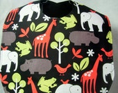 Baby Bib Retro Zoo Animals Handmade Toddler Bib Elephant Giraffe Hippo Frog Bird