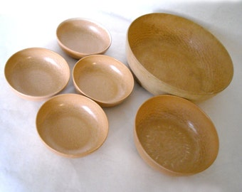 Vintage 6 Piece Set of Mid Century Danish Modern Eillinger Bowls - Large Serving, Medium and 4 Smaller Salad/Dessert Bowls