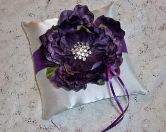 Dark Purple Peony on Ivory Wedding Ring Bearer Pillow