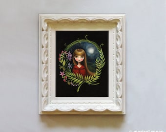 Woodland girl - Lost in the Wildwood print on Somerset Velvet - little red riding hood inspired art by Marisol Spoon