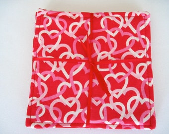 SALE Valentine Coasters Reversible Set 4 or 6 Valentines Intertwined Hearts Valentines Day Mug Rugs Heart Coasters Red Heart Coasters