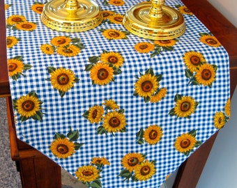 """Sunflower Table Runner 54"""" Reversible Blue Check and Yellow Sunflowers country Plaid Blue Table Runner"""